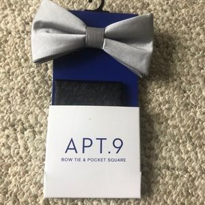 Brand new gray bow tie and pocket square
